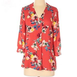 | Rose & Olive | floral v neck high low blouse